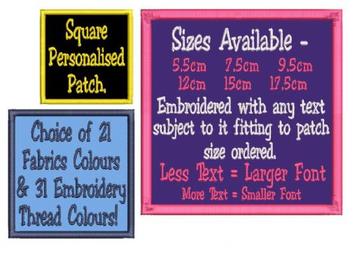 Square Craft Patch - Choice of Sizes/Colours/Your Text Personalised.